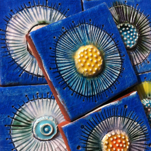 Angela Evans blue Amoebae tiles