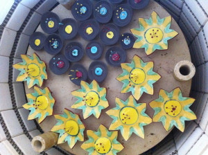 Angela Evans garden flowers in the kiln