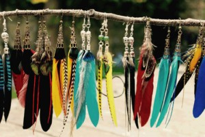 Florid Fox feather earrings